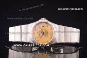 Omega Constellation Asia 2813 Automatic Full Steel with Gold Dial and Diamond Markers