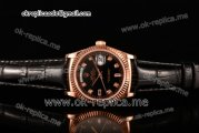 Rolex Day-Date Asia 2813 Automatic Rose Gold Case with Black Dial Diamonds Markers and Black Leather Strap (BP)