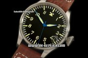 IWC Big Pilot Vintage Edition Swiss ETA 2836 Automatic Movement Silver Case with Black Dial-Yellow Number Markers and Brown Leather Strap